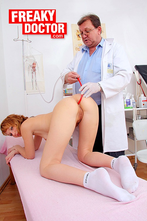 Nurse and blond patient lick cunt and dildo fuck